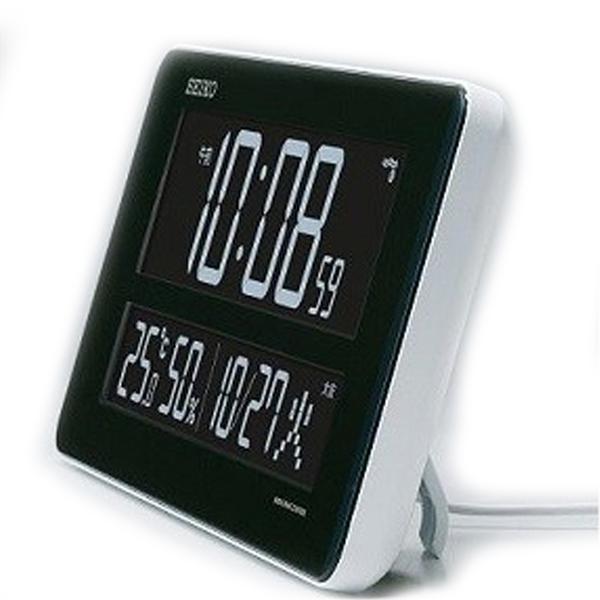 生活関連グッズ セイコー SEIKO 電波交流式デジタル 目覚まし時計 DL208W ブラック