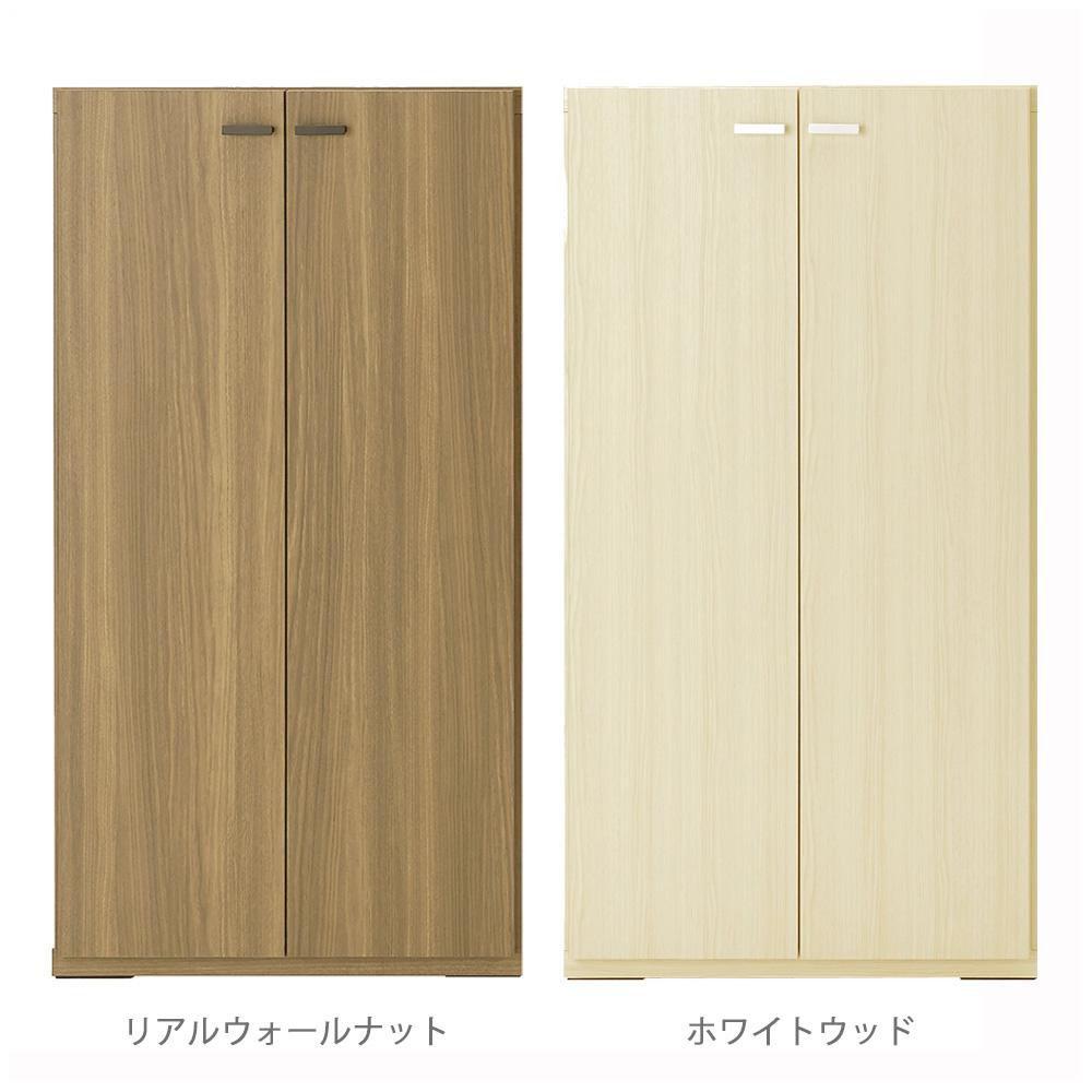 家具/収納 日本製 LIVING SHELF 棚 板戸 600×387×1138mm リアルウォールナット・KFD-60