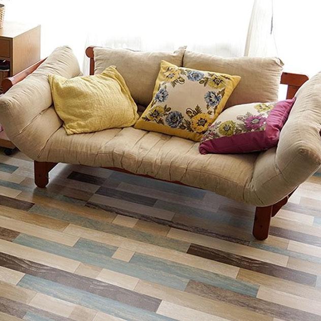 DIY関連商品 貼ってはがせる!床用 リノベシート ロール物(一反) ペイント木 90cm幅×20m巻 B(ブルー) REN-08R