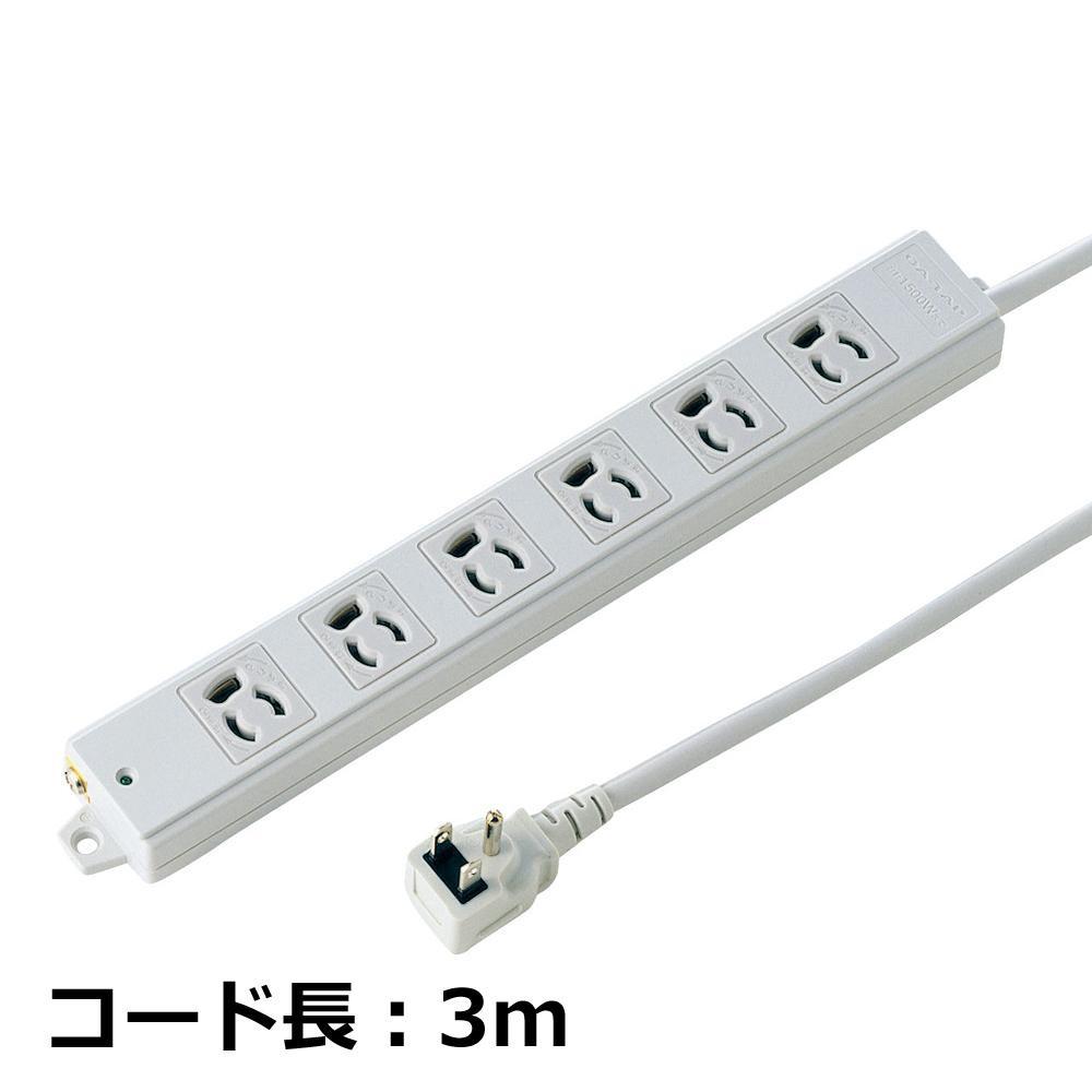 生活関連グッズ 工事物件タップ 抜け止めコンセント L型プラグ 3P 6個口 3m TAP-K6L-3