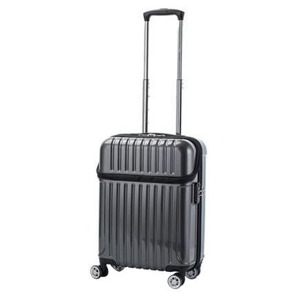 生活関連グッズ 機内持込対応 スーツケース トップオープン トップス Sサイズ ACT-004 ブラックカーボン・74-20311