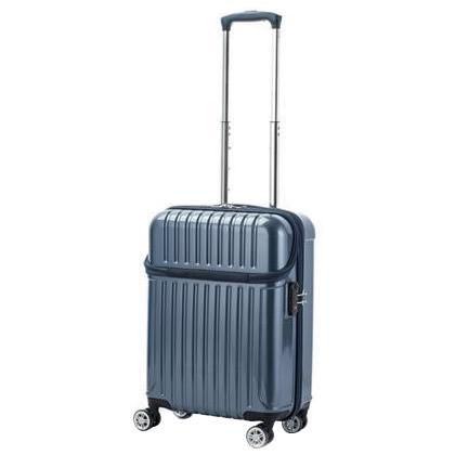 お役立ちグッズ 機内持込対応 スーツケース トップオープン トップス Sサイズ ACT-004 ブルーカーボン・74-20312
