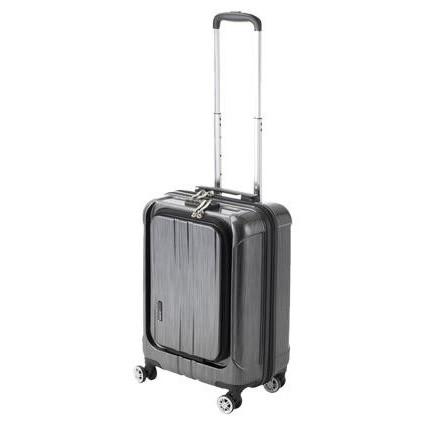 便利雑貨 機内持込対応 スーツケース フロントオープン ポライト Sサイズ ACT-005 ブラックヘアライン・74-20341