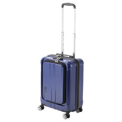 便利雑貨 機内持込対応 スーツケース フロントオープン ポライト Sサイズ ACT-005 ブルーヘアライン・74-20342