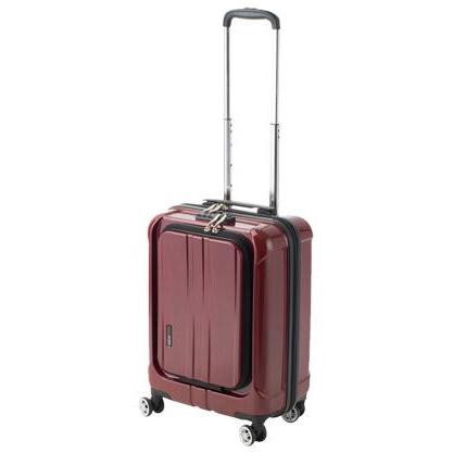 便利雑貨 機内持込対応 スーツケース フロントオープン ポライト Sサイズ ACT-005 レッドヘアライン・74-20343