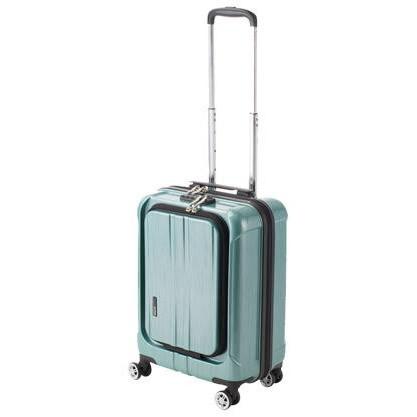 便利雑貨 機内持込対応 スーツケース フロントオープン ポライト Sサイズ ACT-005 グリーンヘアライン・74-20347
