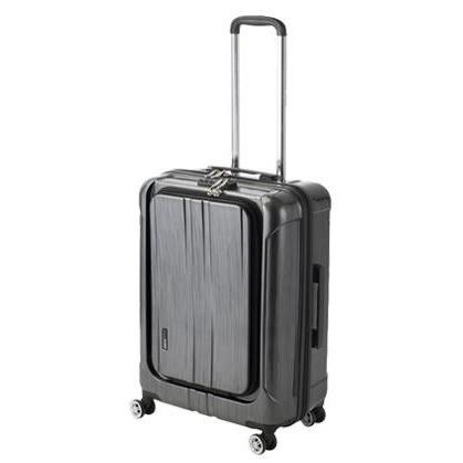 便利雑貨 スーツケース フロントオープン ポライト Lサイズ ACT-005 ブラックヘアライン・74-20351