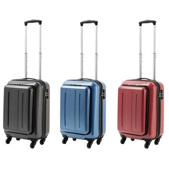 便利雑貨 機内持込対応 スーツケース ポケット付キャリー Sサイズ ME-027 レッドカーボン・53-20103