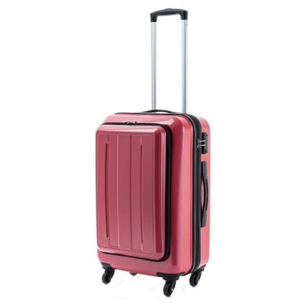 お役立ちグッズ スーツケース ポケット付キャリーMサイズME-027レッドカーボン・53-20113