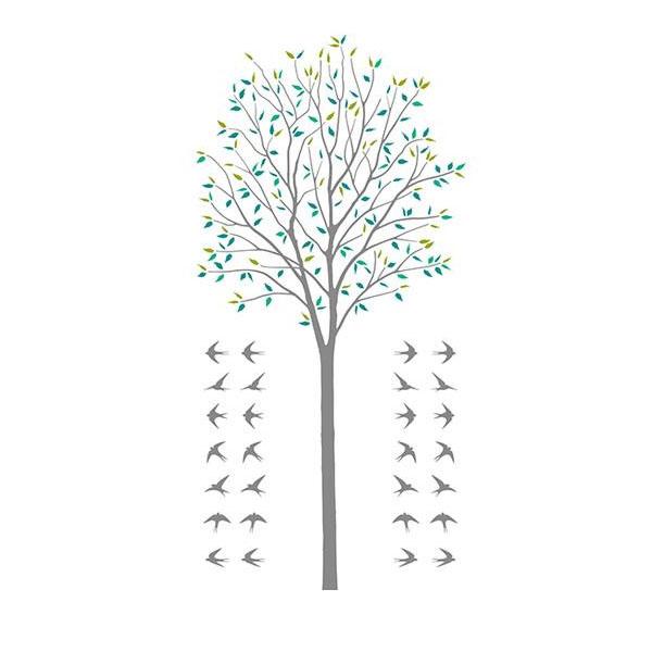 転写式 大判 ウォールステッカー 木とツバメ グリーン Mサイズ TS-0027-AM人気 商品 送料無料 父の日 日用雑貨