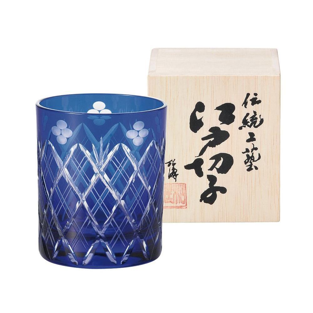 便利雑貨 小花剣矢来紋 ロックグラス 琉璃 223526