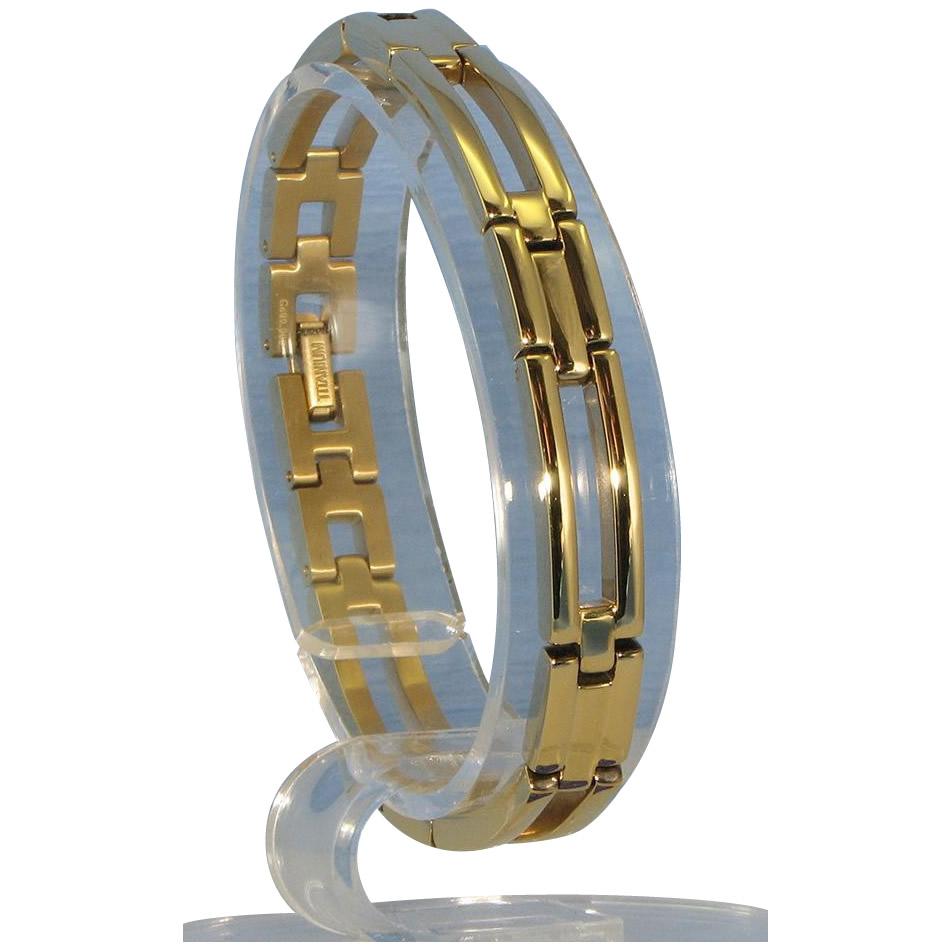 流行 生活 雑貨 ゲルマニウム4個付ブレスレット GOLD/IP ミラー 110G S (17.5cm) H9246-08S