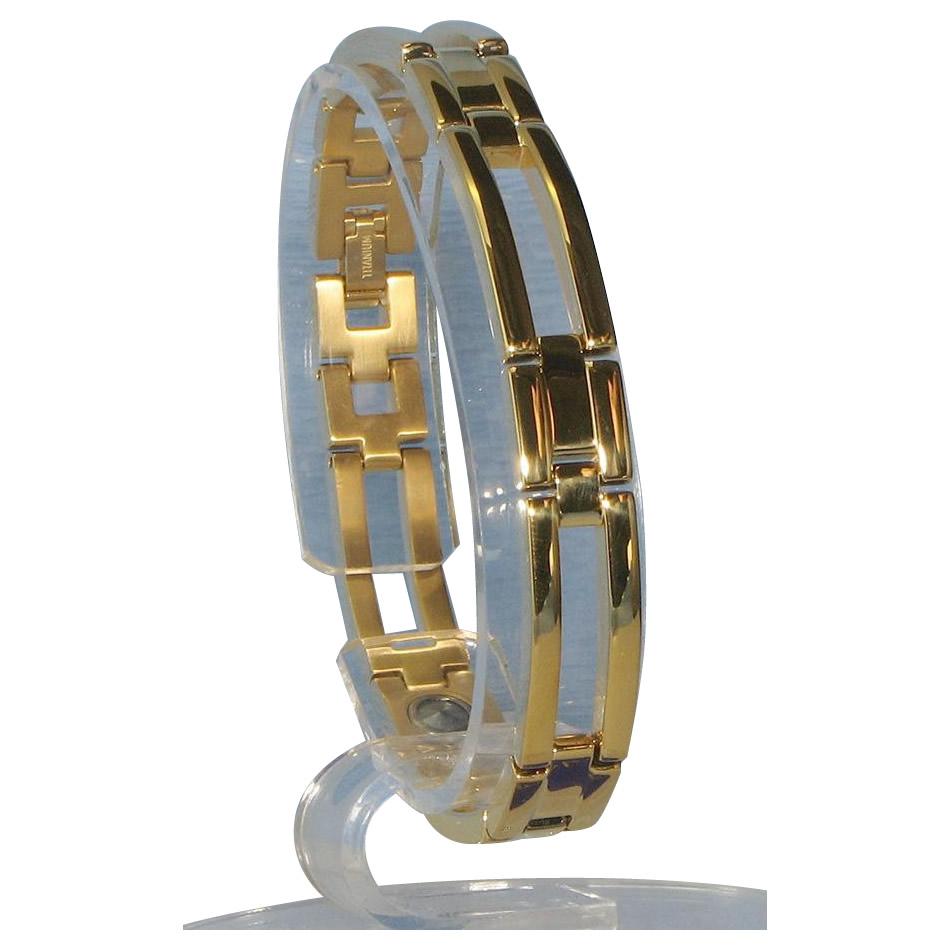 トレンド 雑貨 おしゃれ ゲルマニウム4個付ブレスレット GOLD/IP ミラー 111G S (18.5cm) H1126-06S