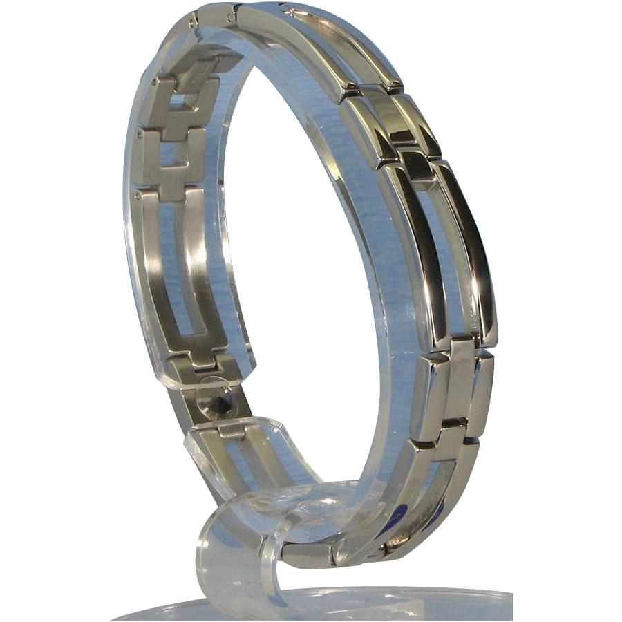 アクセサリー関連商品 ゲルマニウム4個付ブレスレット PT/IP ミラー 113G L (20.5cm) H1126-05L