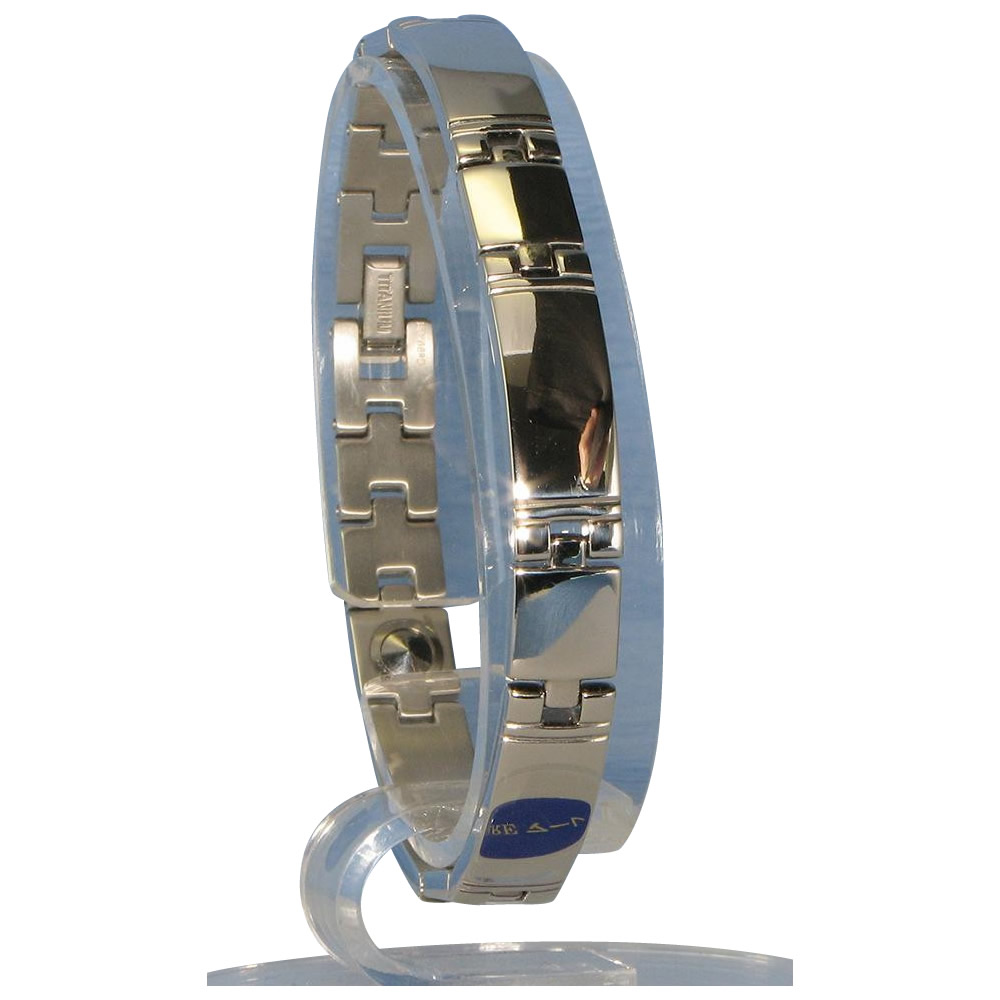 日用品 便利 ユニーク 酸化チタン5個付ブレスレット PT/ IP ミラー 116S (17.5cm) H1103-20S