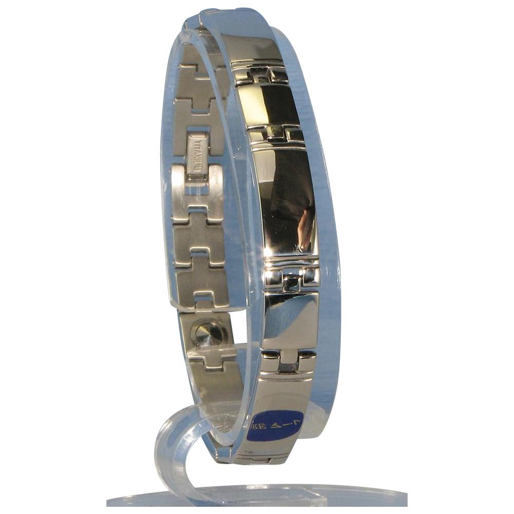 トレンド 雑貨 おしゃれ ゲルマニウム5個付ブレスレット PT/IP ミラー 116G S (17.5cm) H1103-32S