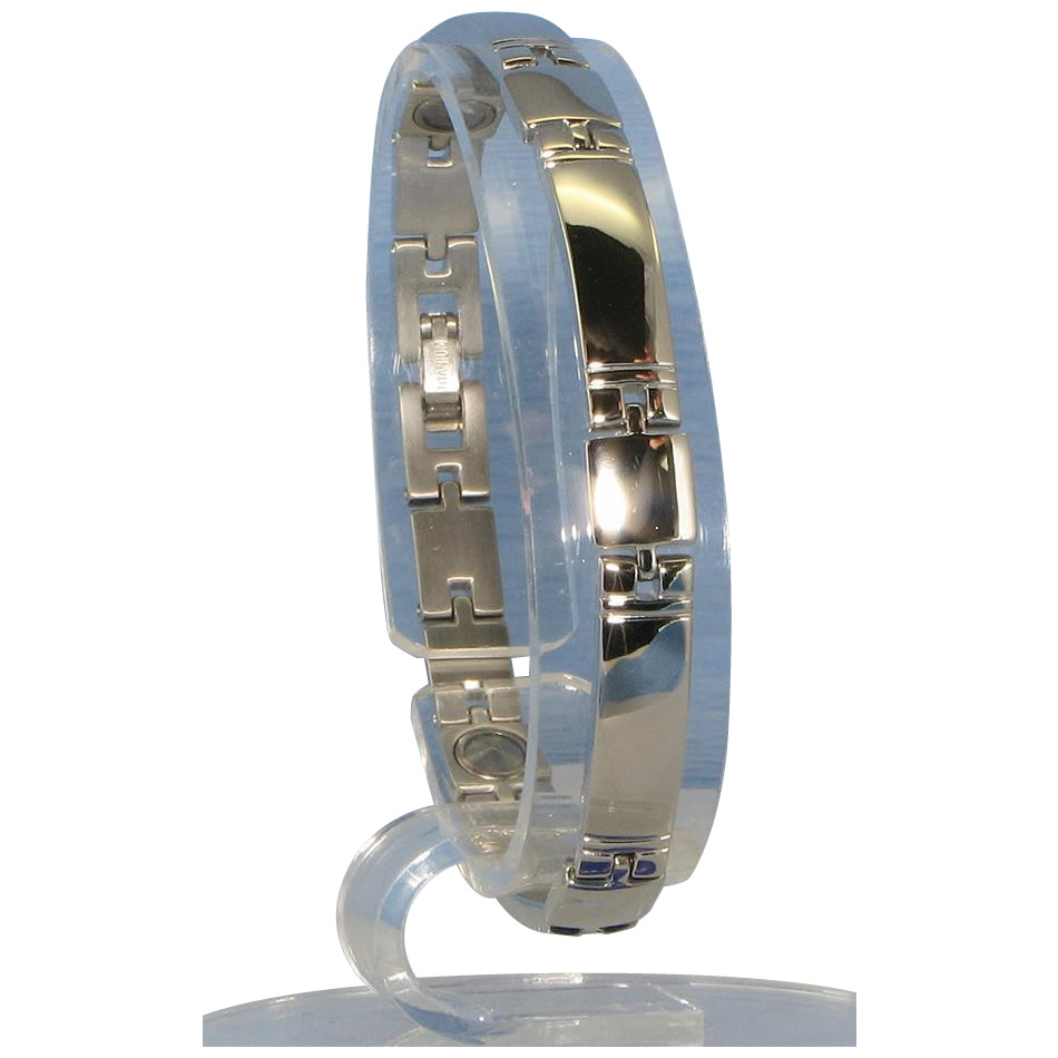 アクセサリー関連商品 ゲルマニウム5個付ブレスレット PT/IP ミラー 117G S (17.7cm) H9259-06S
