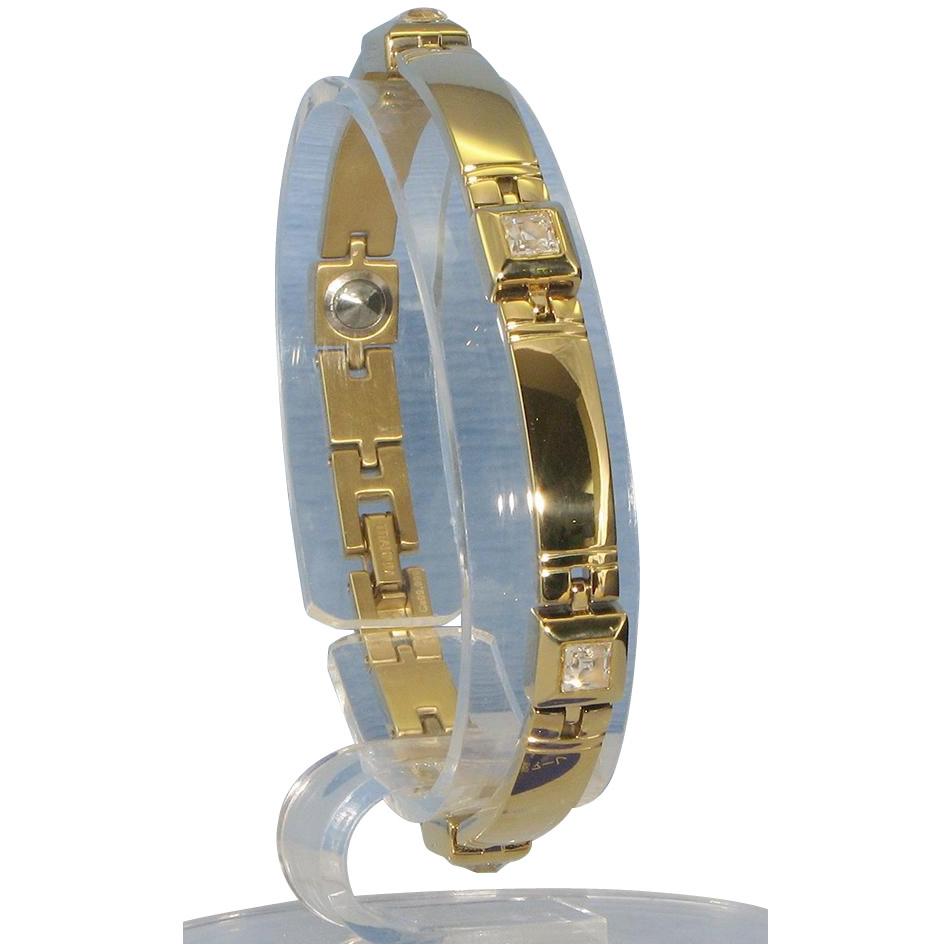 日用品 便利 ユニーク スワロフスキー&ゲルマニウム5個付ブレスレット GOLD/IPミラー 114G S (17.7cm) H9271-08S