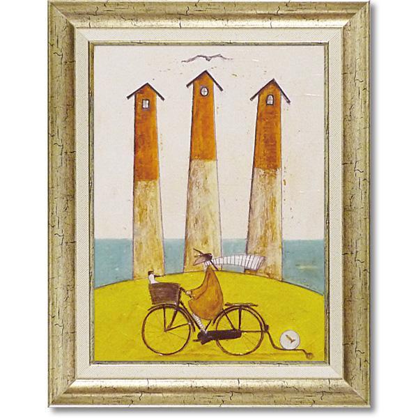 インテリア関連商品 アートフレーム 「海辺のサイクリング」 ST-08009