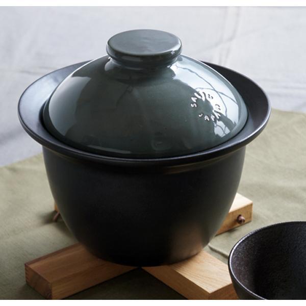 便利雑貨 SALIU 炊飯土鍋 2合炊き 黒 39651