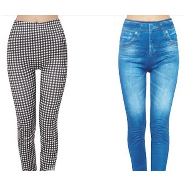 便利雑貨 コアシェイプジーンズ 2枚組 ギンガムチェック・ブルー S-M