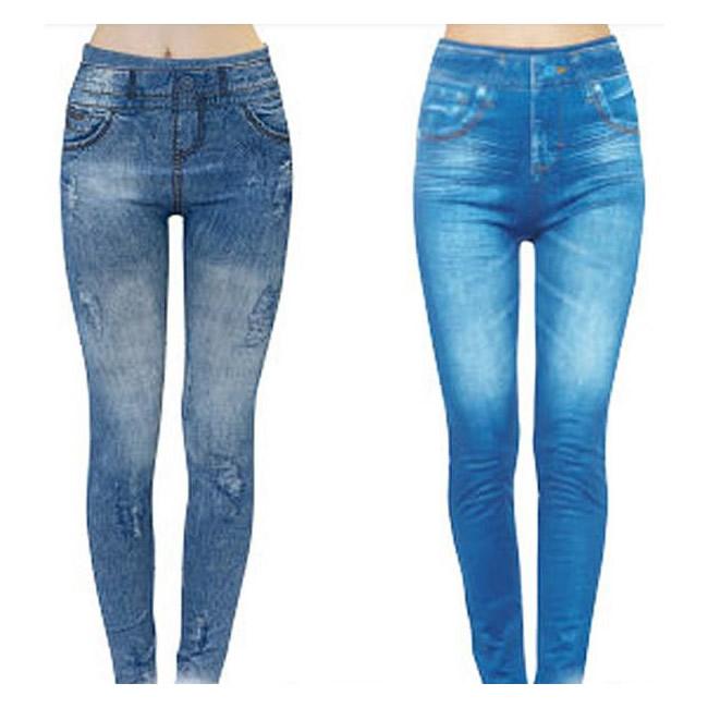 便利雑貨 コアシェイプジーンズ 2枚組 サックス・ブルー L-LL