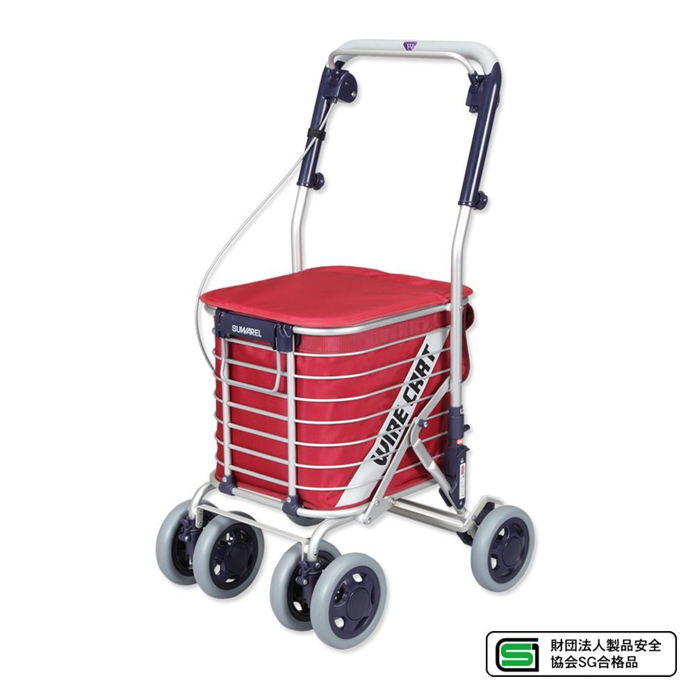 介護用品関連商品 ワイヤーカート スワレル バッグ付き AS-0275(無地・ワイン)