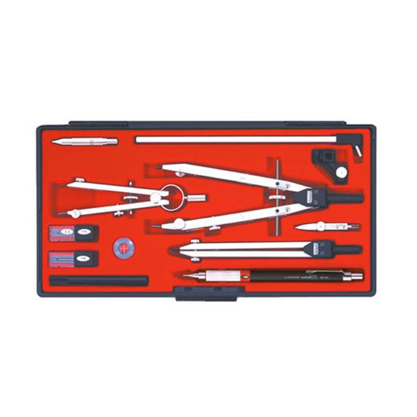 【洗顔用泡立てネット 付き】1本の穂替コンパスで大円から小円まで描ける製図器セット。 文具関連商品 KD型製図器 QBセット QB13品組 1-730-7413