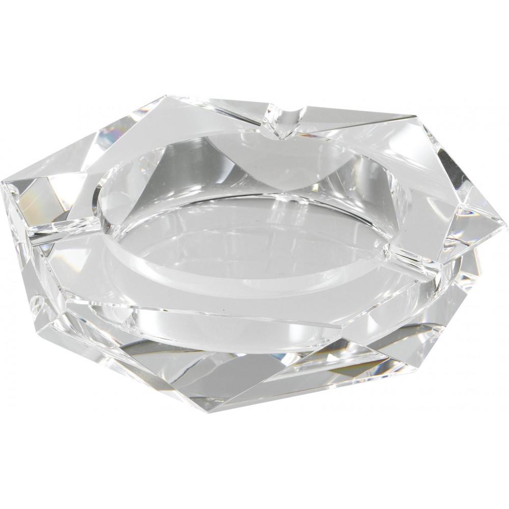流行 生活 雑貨 卓上灰皿 クリスタルガラス灰皿 ヘキサゴンカット