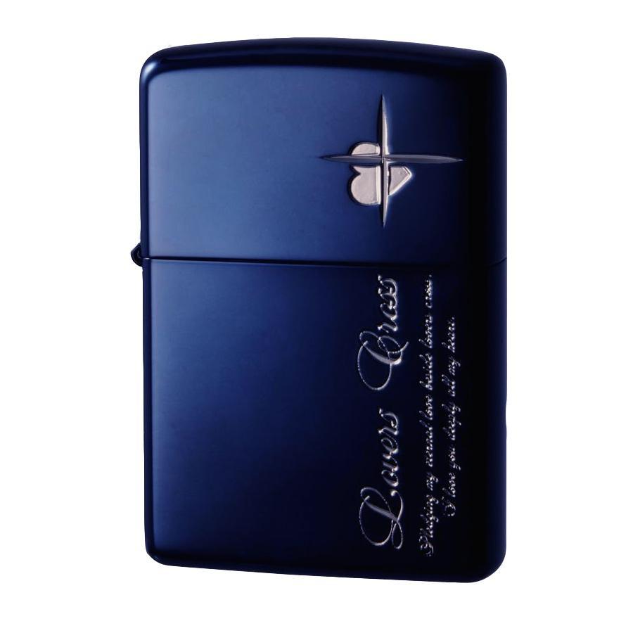 便利雑貨 オイルライター ラバーズ・クロス メッセージSIDE ブルー&銀ミラー 63050398
