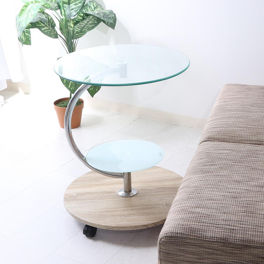 便利雑貨 ガラスラウンドテーブル マーブル ナチュラル 96229