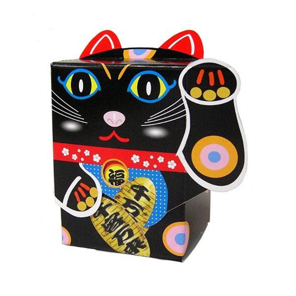 便利雑貨 招き猫 BOXティッシュ 100個入 黒 7092