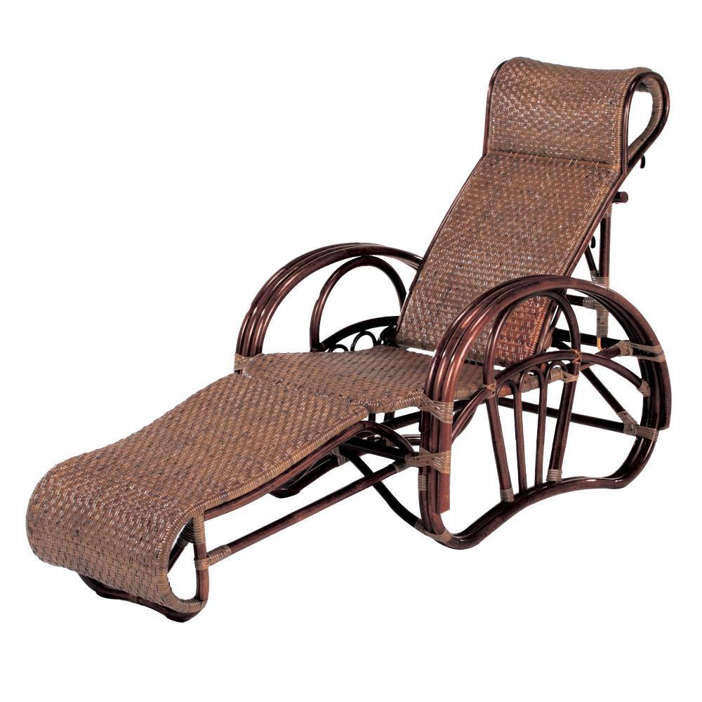 【薬用入浴剤 招福の湯 付き】座面は、しっかり編みこまれた市松編み。 家具/収納関連 今枝ラタン 籐 リクライニングチェア ダークブラウン C-102CN