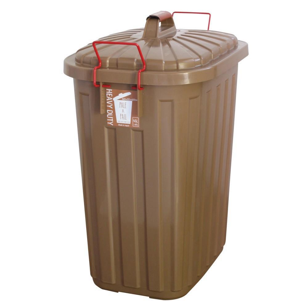 日用品 便利 ユニーク PALE×PAIL ふた付きゴミ箱 ブラウン 60L IWLY4010BR