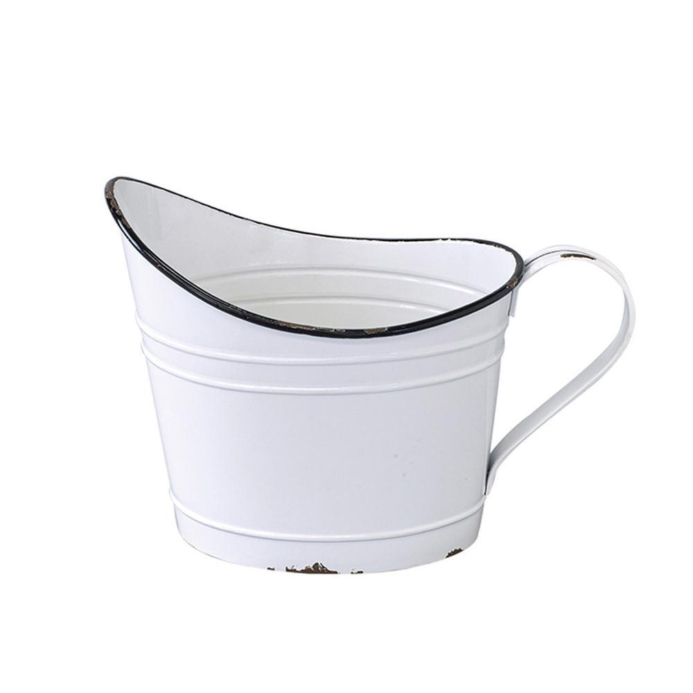流行 生活 雑貨 プロヴァンスブリキ ワンハンドルオーバルポット ホワイト IVDN1300WH
