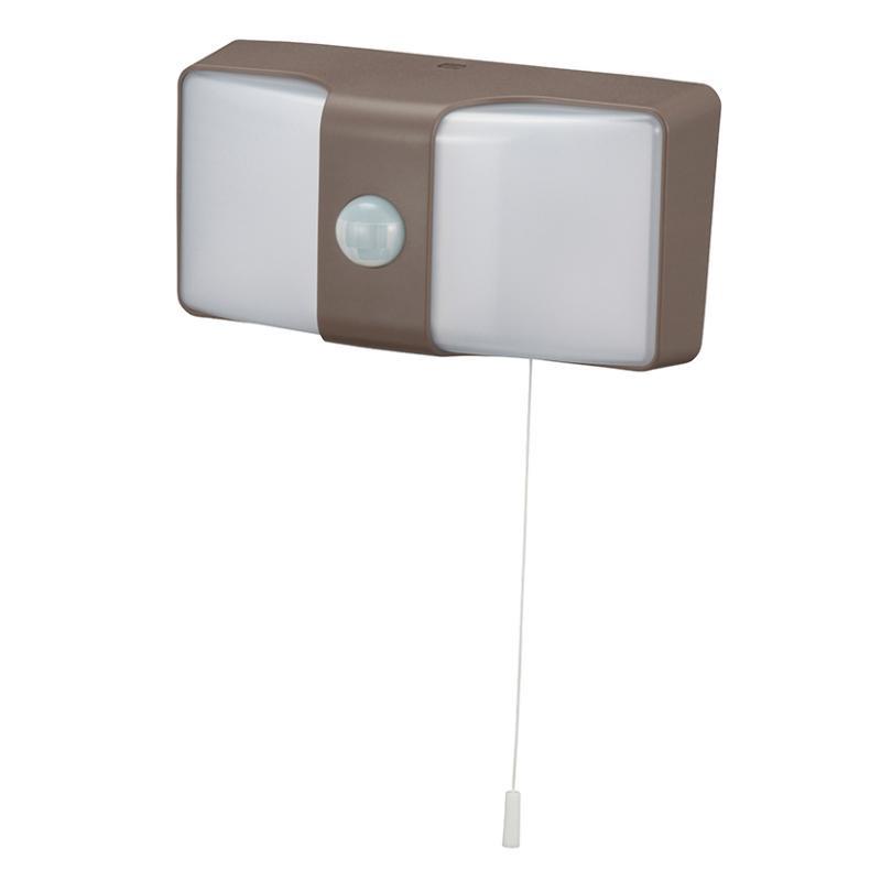 日用品 便利 ユニーク monban LEDセンサーウォールライト コンセント式 ブラウン LS-AH26J4-T