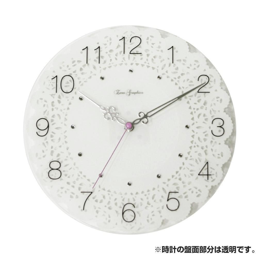 生活 雑貨 通販 レースプリントガラス 掛け時計 WT ZWG-1130