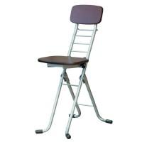 便利雑貨 ルネセイコウ リリィチェアM(折りたたみ椅子) ダークブラウン/シルバー 日本製 完成品 CSM-320TAD