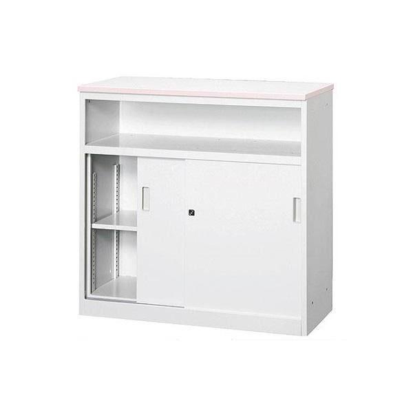 便利雑貨 オフィス・店舗向け システムカウンター 中棚付ハイカウンター 鍵付 天板W900×D450mm グレー・COM-CVA-9HST-G