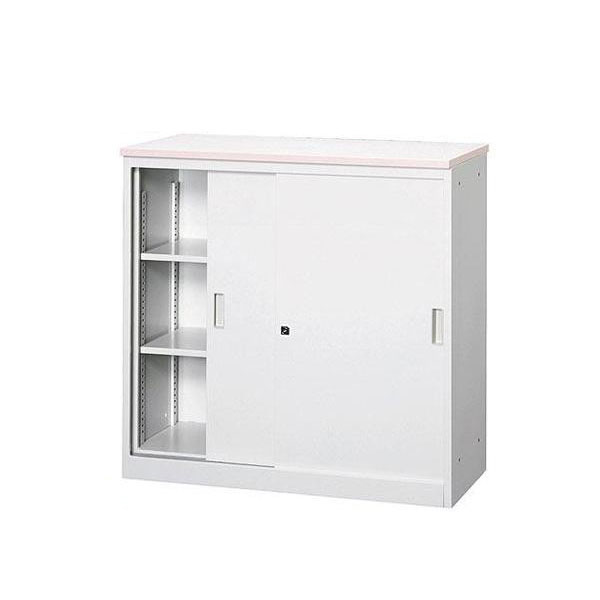 オフィス・店舗向けシステムカウンター書庫型ハイカウンター鍵付天板W900×D450mmピンク・COM-CVA-9HS