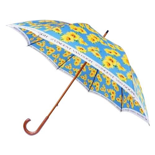 便利雑貨 日本の職人手作り ひまわり柄 木棒 手開き長傘大判 ブルー CMD165F