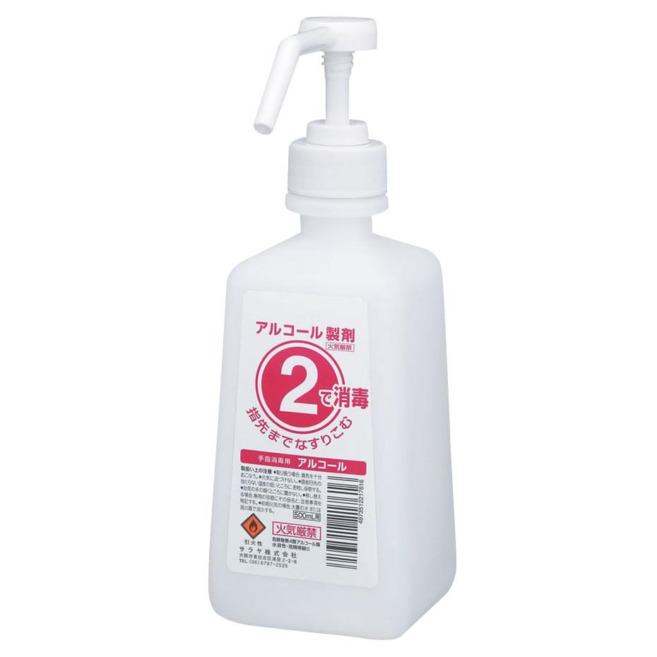 便利雑貨 2ボトル 噴射ポンプ付 手指消毒剤用 薬液詰替容器 500ml×12本
