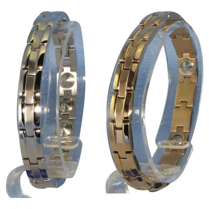 便利雑貨 MARE(マーレ)ブレスレット 0.8cm×19.5cm IPミラー・マット ゲルマニウム16個付 H9337-PG16ピンクゴールド