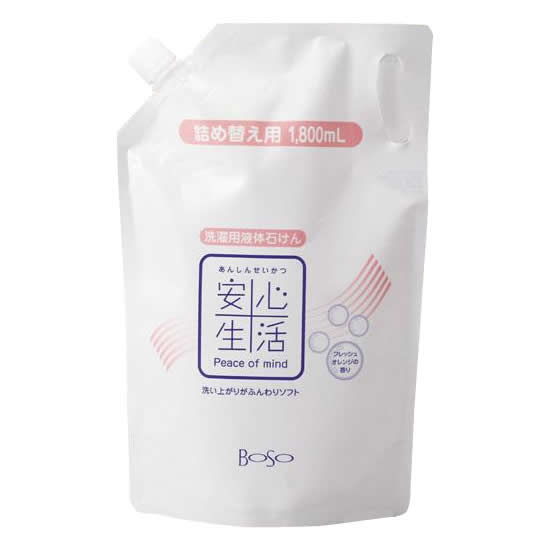 便利雑貨 安心生活 洗濯用液体石けん詰替用1800ml 8セット