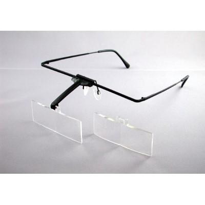 【単四電池 4本】付き眼鏡のように耳に掛けるフレームタイプ  メガネ 作業用品 おすすめ 眼鏡 フレーム フレーム+レンズ2枚セット 両眼レンズ 2倍・3倍(1644-513)