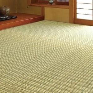 流行 生活 雑貨 掛川織花ござ(い草敷物) 174×174cm グリーン・HRMKGNE2