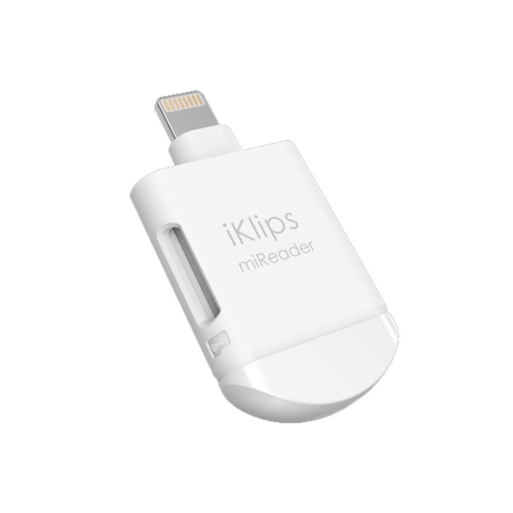 □便利雑貨 □iKlips miReader 4K White Lightningコネクタ対応 microSDカードリーダー ACRAD0GMIRNWH