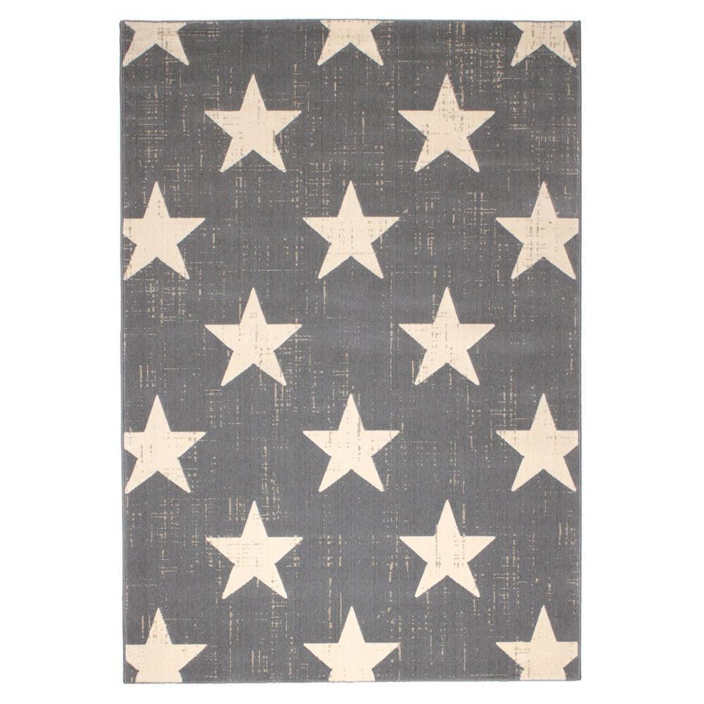 トレンド 雑貨 おしゃれ ウィルトン織 ラグ カーペット じゅうたん CANVAS スター 約160×230cm GY 270056419