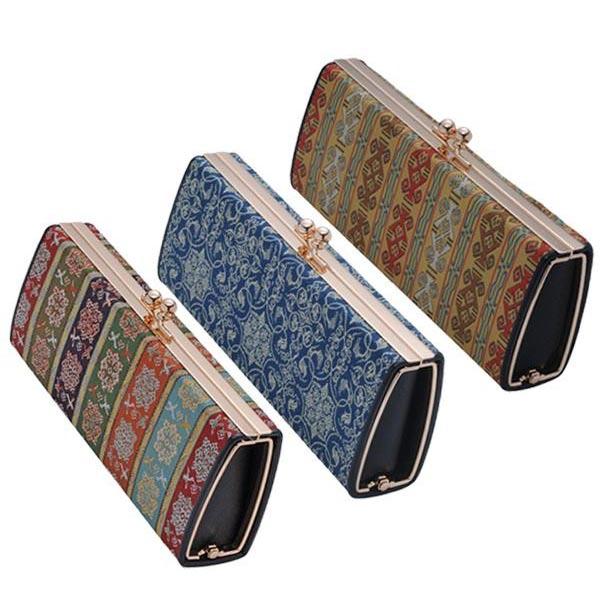 日本製 西陣織 がま口式メガネケース 西陣口金 チャ・ブラウン・A人気 お得な送料無料 おすすめ 流行 生活 雑貨