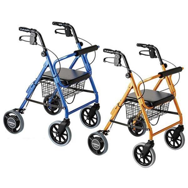 便利雑貨 抑速ブレーキ機能付 室内室外兼用歩行車 オレンジメタリック117008